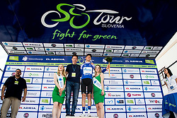 Aleksandr Vlasov (RUS) of Gazprom - Rusvelo celebrates in blue jersey with Jaka Lopatic, Siol Sportal at trophy ceremony after 3rd Stage of 26th Tour of Slovenia 2019 cycling race between Zalec and Idrija (169,8 km), on June 21, 2019 in Slovenia. Photo by Matic Klansek Velej / Sportida