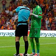 Referee Huseyin Gocek (L) and Osmanlispor's goalkeeper Ahmet Sahin (R) during their Turkish Super League soccer match Galatasaray between Osmanlispor at the AliSamiYen Spor Kompleksi TT Arena at Seyrantepe in Istanbul Turkey on Monday, 24 August 2015. Photo by Aykut AKICI/TURKPIX