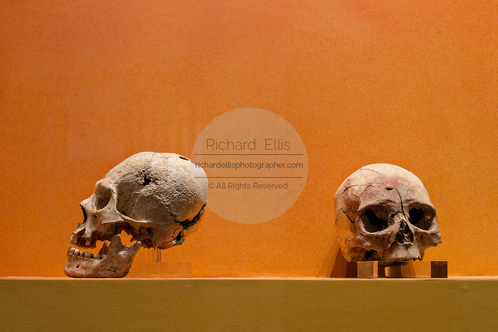 Human skulls from sacrifices found in the ruins of Monte Albán pre-Columbian archaeological site in the Santa Cruz Xoxocotlán, Oaxaca, Mexico.