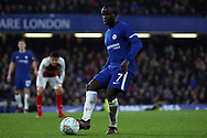 Ngolo Kante of Chelsea in action. Carabao Cup , semi final 1st leg match, Chelsea v Arsenal at Stamford Bridge in London on Wednesday 10th January 2018.<br /> pic by Steffan Bowen, Andrew Orchard sports photography.