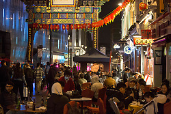 © Licensed to London News Pictures.  24/04/2021. London, UK. Members of the public make the most of Saturday night out in China Town, central London as lockdown restriction were eased last week. Photo credit: Marcin Nowak/LNP