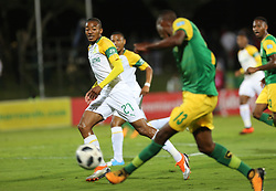 Durban, SOUTH AFRICA - SEPTEMBER 19: Lunga Divine shoot a ball to Theapelo Morena during the Absa Premiership match between Golden Arrows and Mamelodi Sundowns at Princess Magogo Stadium on September 19, 2018 in Durban, South Africa. (Photo by Motshwari Mofokeng/ANA)