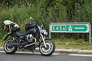 Denmark, 14/07/2013.<br /> Moto Guzzi Bellagio on E45 motorway in Denmark.