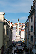 Elevated view of Rossio Square, Lisbon, Portugal