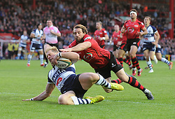 Bristol Rugby's Charlie Amesbury scores a try - Photo mandatory by-line: Dougie Allward/JMP - Mobile: 07966 386802 - 17/04/2015 - SPORT - Rugby - Bristol - Ashton Gate - Bristol Rugby v Jersey - Greene King IPA Championship