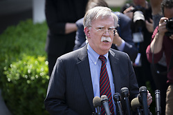 April 30, 2019 - Washington, District of Columbia, U.S. - U.S. national security adviser JOHN BOLTON spoke to reporters on Tuesday as chaos rules on the streets of Venezuela He singled out three senior aides to Venezuelan President Nicolas Maduro whom he said must make good on commitments they made to the opposition for a peaceful transition away from Maduro. (Credit Image: © Douglas Christian/ZUMA Wire)