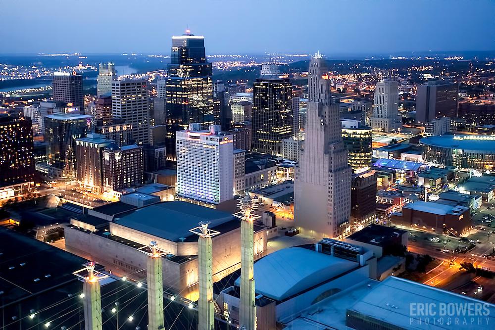"Downtown Kansas City, Missouri skyline aerial view and Convention Center ""Skystation"" pylons."