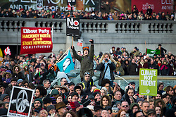 © Licensed to London News Pictures. 26/02/2016. London, UK. Crowds at a CND (Campaign for Nuclear Disarmament) rally in central London on February 27, 2016. Jeremy Corbyn has been criticised for publicly supporting the CND campaign while Labour Party policy  backs the renewal of Trident nuclear programme. Photo credit: Ben Cawthra/LNP