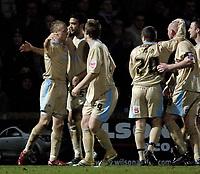 Photo: Jed Wee.<br /> Scunthorpe United v Bristol City. Coca Cola League 1. 14/02/2006.<br /> <br /> Bristol celebrate with Dave Cotterill (L).