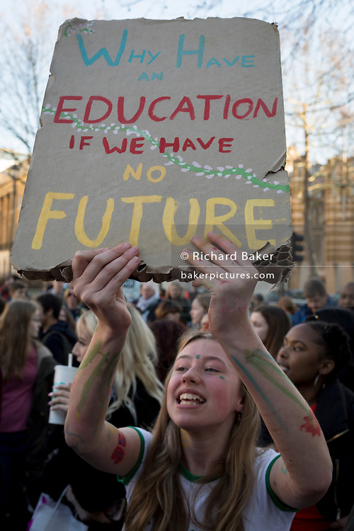 Inspired by Swedish teenager Greta Thunberg and organised by Youth Strike 4 Climate, British eco-aware school and college-age pupils protest about Climate Change outside Downing Street in Whitehall during their walkout from classes, on 15th February 2019, in Westminster, London England.