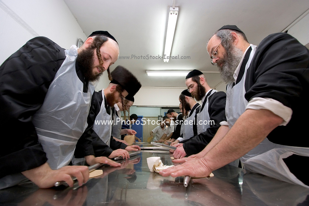 Israel, Tel Aviv, Preparing Matzah. In order for the matza to be Kosher strict baking procedures must be followed, All hand made and under a strict watch of the Rabbi