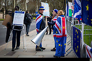 Steve Bray with his Sodem Action sign as the pro EU demonstrators who have been outside parliament on a daily basis since September 2017 after the country voted to leave the European Union. House of Commons, Westminster, London, United Kingdom