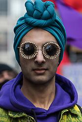 London, UK. 1st May, 2021. A protester wearing a turban and bejewelled glasses attends a Kill The Bill demonstration as part of a National Day of Action to mark International Workers Day. Nationwide protests have been organised against the Police, Crime, Sentencing and Courts Bill 2021, which would grant the police a range of new discretionary powers to shut down protests.