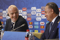 July 1, 2017 - Sain Petersburg, Russia - FIFA President Gianni Infantino (L) and Russian Federation Deputy Prime Minister & Local Organising Committee (LOC) Chairman Vitaly Mutko during FIFA Confederations Cup Russia 2017 closing press conference at Saint Petersburg Stadium on July 1, 2017 in Saint Petersburg, Russia. (Credit Image: © Mike Kireev/NurPhoto via ZUMA Press)