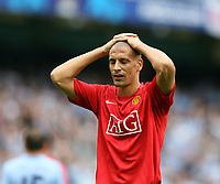 Photo: Paul Greenwood.<br />Manchester City v Manchester United. The FA Barclays Premiership. 19/08/2007.<br />Reaction from Rio Ferdinand at the final whistle