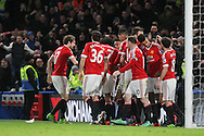 Jesse Lingard of Manchester United celebrates his goal during the Barclays Premier League match between Chelsea and Manchester United at Stamford Bridge, London, England on 7 February 2016. Photo by Phil Duncan.