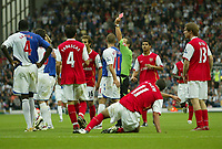 Photo: Aidan Ellis.<br /> Blackburn Rovers v Arsenal. The FA Barclays Premiership. 19/08/2007.<br /> Rovers captain Ryan Nelsen is sent off after bringing down Arsenal's Robin Van Persie