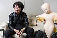 """Professor Hiroshi Ishiguro bredvid två robotar som kallas """"Telenoid"""". Osaka University, Japan<br /> <br /> Professor Hiroshi Ishiguro. Osaka University, Japan<br /> <br /> Photographer: Christina Sjögren<br /> Copyright 2018, All Rights Reserved"""