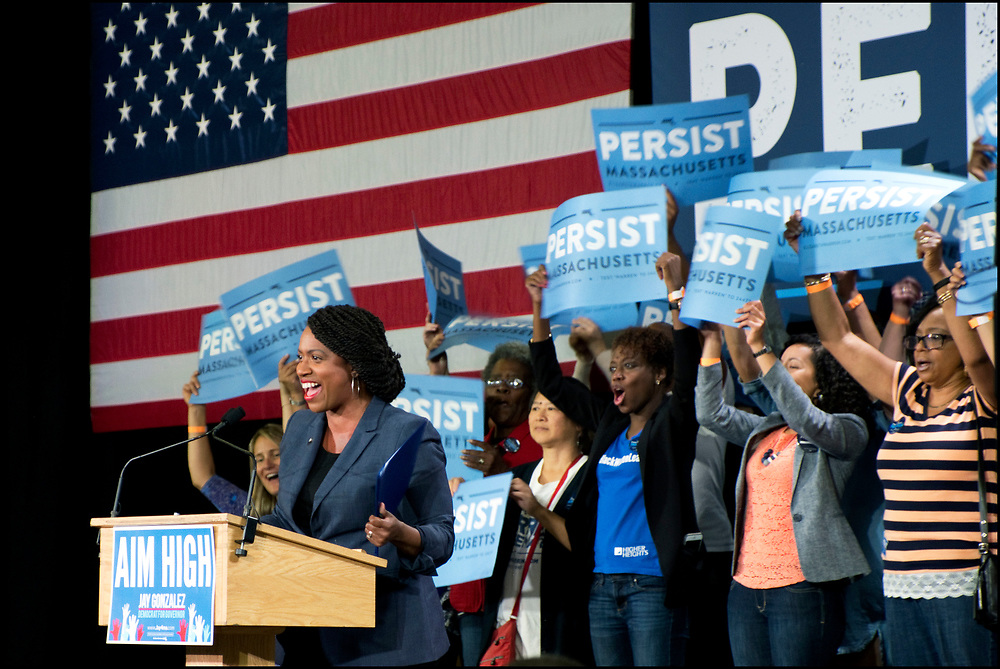 Ayanna Pressley speaks to supporters at a campaign rally on September 9, 2018 in Cambridge, MA. Pressley won election to the U.S. House of Representatives. She is the first black woman elected to Congress from Massachusetts