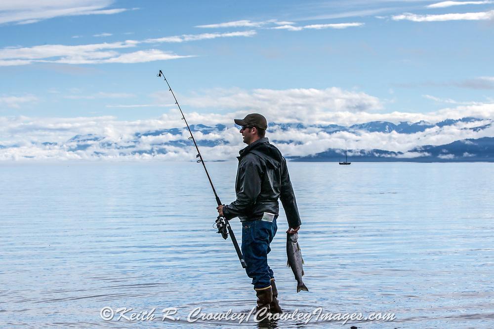 Shore fishing for salmon on Katchemak Bay, Homer, Alaska