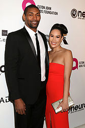 February 24, 2019 - West Hollywood, CA, USA - LOS ANGELES - FEB 24:  Metta World Peace, Maya Ford Artest at the Elton John Oscar Viewing Party on the West Hollywood Park on February 24, 2019 in West Hollywood, CA (Credit Image: © Kay Blake/ZUMA Wire)