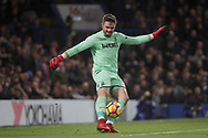 Jack Butland , the goalkeeper of Stoke city in action. <br /> Premier league match, Chelsea v Stoke city at Stamford Bridge in London on Saturday 30th December 2017.<br /> pic by Kieran Clarke, Andrew Orchard sports photography.