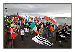 Opening parade..The Laser Radial World Championships are taking place at Largs, Scotland GBR. Practice Race, Training and Opening Parade..118 Women from 35 different nations compete in the Olympic Women's Laser Radial fleet and 104 Men from 30 different nations. .All three 2008 Women's Laser Radial Olympic Medallists are competing. .The Laser Radial World Championships take place every year. This is the first time they have been held in Scotland and are part of the initiaitve to bring key world class events to Britain in the lead up to the 2012 Olympic Games. .The Laser is the world's most popular singlehanded sailing dinghy and is sailed and raced worldwide. ..Further media information from .laserworlds@gmail.com.event press officer mobile +44 7775 671973  and +44 1475 675129 .
