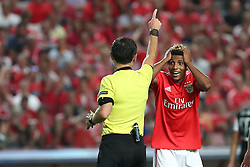 August 21, 2018 - Lisbon, Portugal - Benfica's Portuguese midfielder Gedson Fernandes reacts to Referee Milorad Mazic of Serbia during the UEFA Champions League play-off first leg match SL Benfica vs PAOK FC at the Luz Stadium in Lisbon, Portugal on August 21, 2018. (Credit Image: © Pedro Fiuza/NurPhoto via ZUMA Press)
