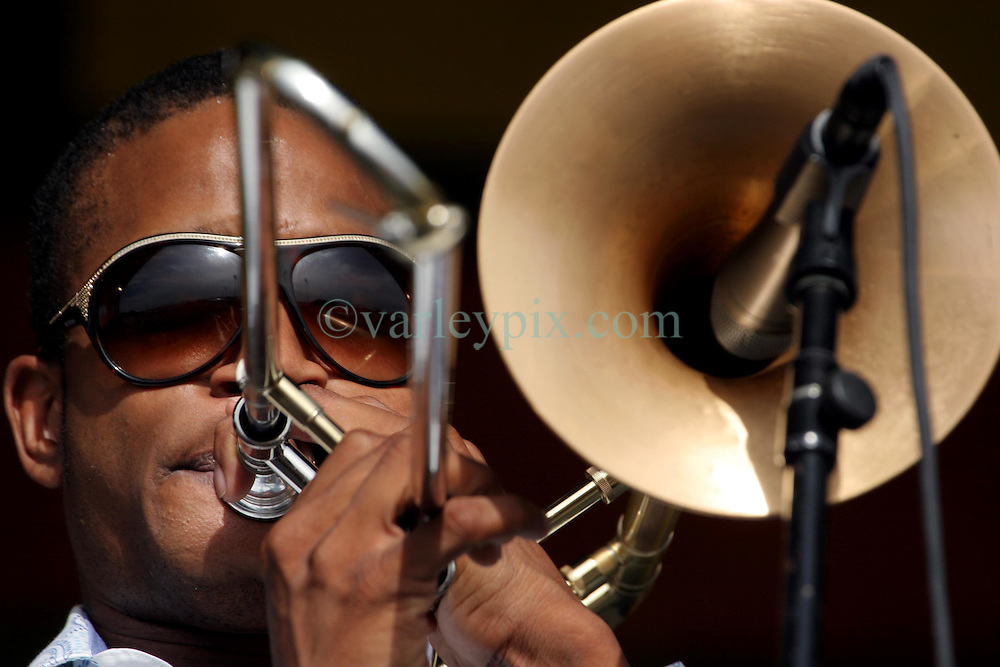 April 27 2007. New Orleans, Louisiana. <br /> The New Orleans Jazz and Heritage Festival. Troy 'Trombone' Shorty plays the Congo Square stage.<br /> Photo credit; Charlie Varleyvarleypix.com