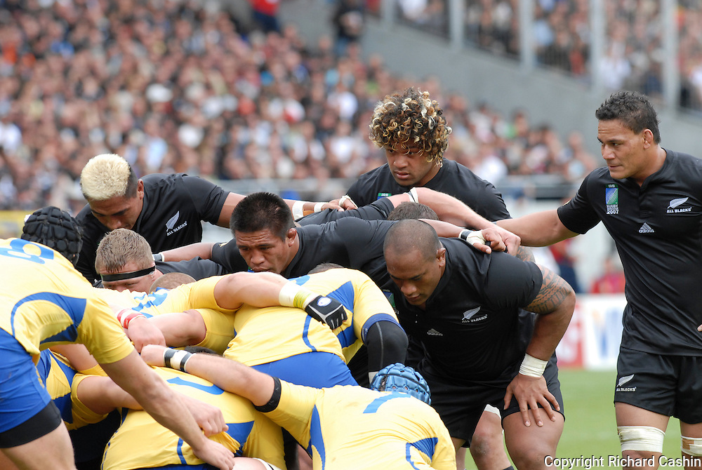 All Black number 8 Sione Lauaki during the 2007 Rugby World Cup pool game between New Zealnd and Romania at Stadium de Toulouse, Toulouse, France