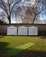UK. London. The Village Green: From Blair to Brexit.<br /> A story on the relationship between the Media, Politicians and the public as they come together on College Green, a small patch of land next to The Houses of Parliament in Westminster. <br /> Photo shows media tents belonging to various news broadcasters during the BREXIT negotiations that followed the 2016 Referendum in which the UK voted to leave the EU.<br /> Photo©Steve Forrest/Workers' Photos