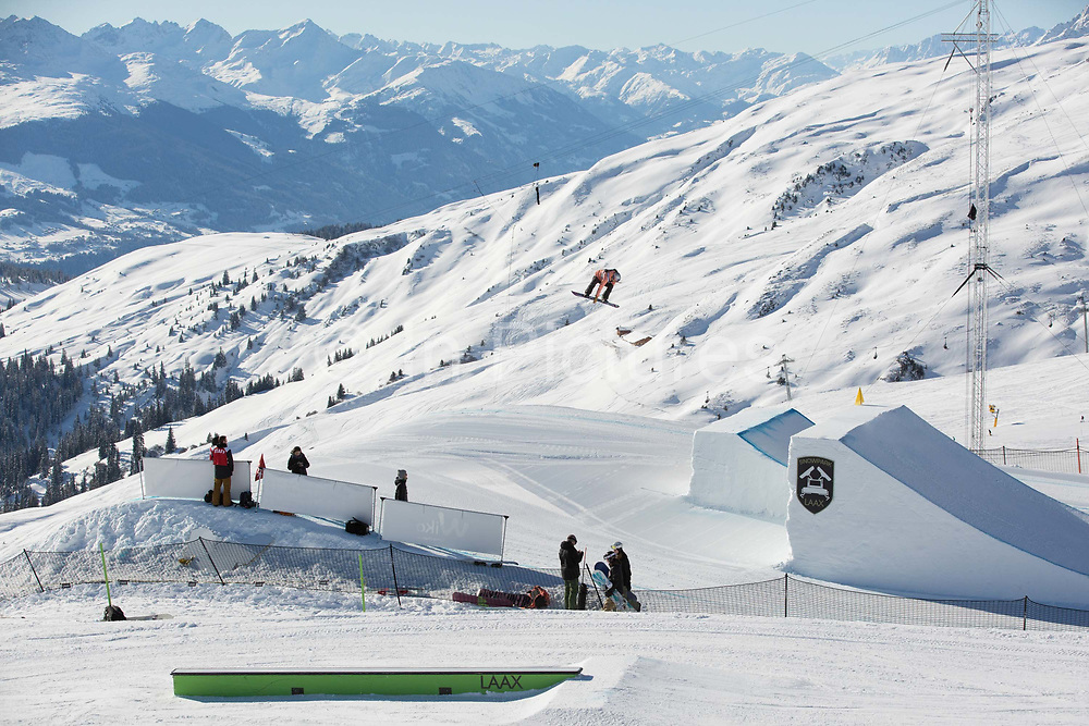 British professional snowboarder, Katie Ormerod during the 2017 Laax Open Slopestyle competition on 19th January 2017 in Laax, Switzerland. The Laax Open is a FIS Snowboarding World Championship competition in Laax ski resort.