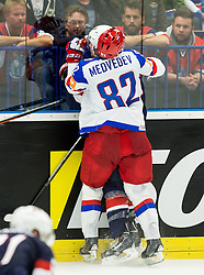 Matt Hendricks of USA vs Yevgeni Medvedev of Russia during Ice Hockey match between Russia and USA at Day 4 in Group B of 2015 IIHF World Championship, on May 4, 2015 in CEZ Arena, Ostrava, Czech Republic. Photo by Vid Ponikvar / Sportida