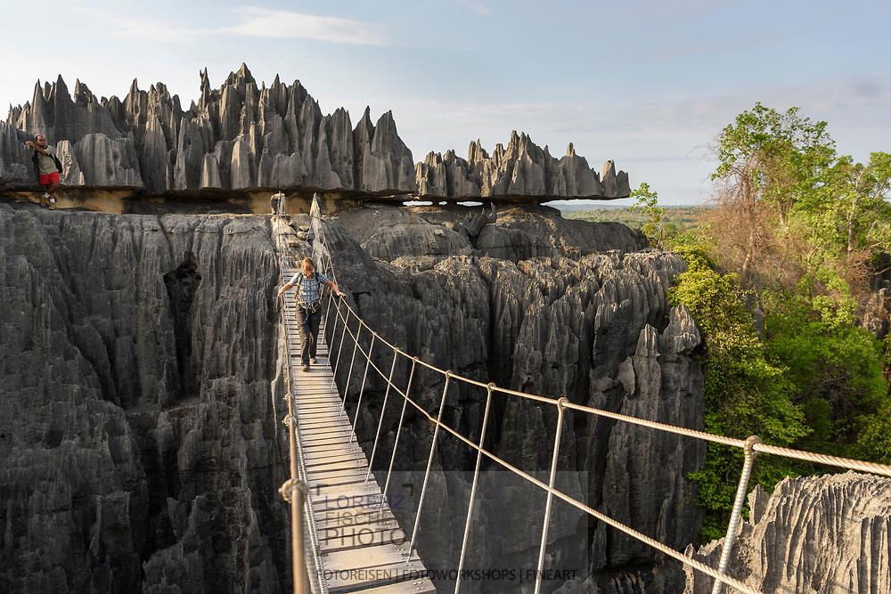 Hängebrücke auf dem grossen Trail, Tsingy, Madagaskar<br /> <br /> Suspension bridge on the great trail, Tsingy, Madagascar
