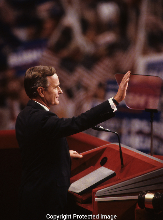 Presidential candidate Herbert Walker Bush waves to crowd at the Republican Convention in New Orleans in  August 1988...Photograph by Dennis Brack bb33