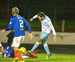 Forfar Athletic's Gavin Swankie scoring their fourth goal. Cowdenbeath 3 v 4 Forfar Athletic, Scottish Football League Division Two game played 17/12/2016 at Central Park.