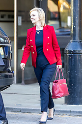 © Licensed to London News Pictures. 06/10/2021. Manchester, UK. Foreign Secretary Liz Truss leaves the Midland hotel this morning on the fourth & final day of the Conservative Party Conference in Manchester. Photo credit: Andrew McCaren/LNP