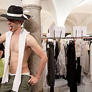 Milan, Italy, June the 23rd, 2012. Backstage at John Varvatos during the Milan Men's Fashion Week. Reportage for Cosmopolitan Germany. Reportage for Cosmopolitan Germany.