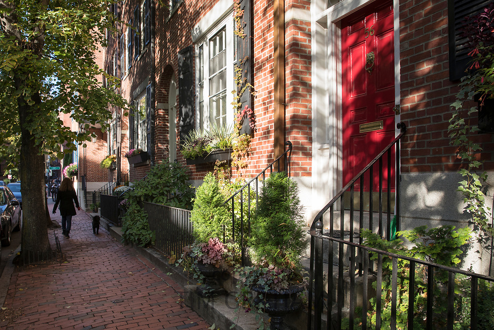 Local woman walking dog on lead past period properties in Brimmer Street in the Beacon Hill district of Boston, USA