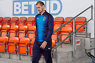 Wimbledon forward James Hanson (18) arrives during the EFL Sky Bet League 1 match between Blackpool and AFC Wimbledon at Bloomfield Road, Blackpool, England on 20 October 2018.