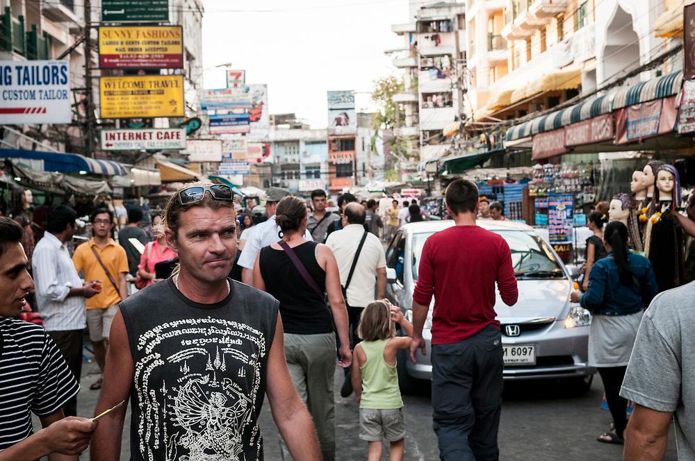 Busy scene on Khao San Road in Bangkok, Thailand (November 28, 2011)