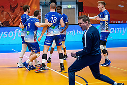 Lycurgus celebrate during the cup final between Amysoft Lycurgus vs. Draisma Dynamo on April 18, 2021 in sports hall Alfa College in Groningen