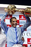 Galopp<br /> Foto: imago/Digitalsport<br /> NORWAY ONLY<br /> <br /> 28.03.2015, Dubai, UAE, VEREINIGTE ARABISCHE EMIRATE - Winners presentation for the Dubai World Cup 2015. Winners presentation for the Dubai World Cup 2015, Jockey Wiliam Buick with the trophy. Meydan racecourse.