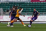 Newport County's Captain Joss Labadie (4) lines up a shot at goal during the EFL Sky Bet League 2 match between Newport County and Tranmere Rovers at Rodney Parade, Newport, Wales on 17 October 2020.