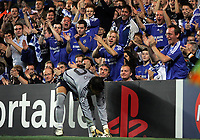 Photo: Paul Thomas.<br /> Chelsea v Barcelona. UEFA Champions League, Group A. 18/10/2006.<br /> <br /> Hilario, the new Chelsea keeper is clepped by his fans.