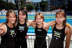 Ursa Bezan, Katja Hajdinjak, Mojca Skratek, Tjasa Vozel at swimming competition of EYOF 2007 (European Youth Olympic Festival) in Belgrade, 21. - 28. July 2007,  Tasmajdan pool, Belgrade, Serbia. (Photo by Vid Ponikvar / Sportida)