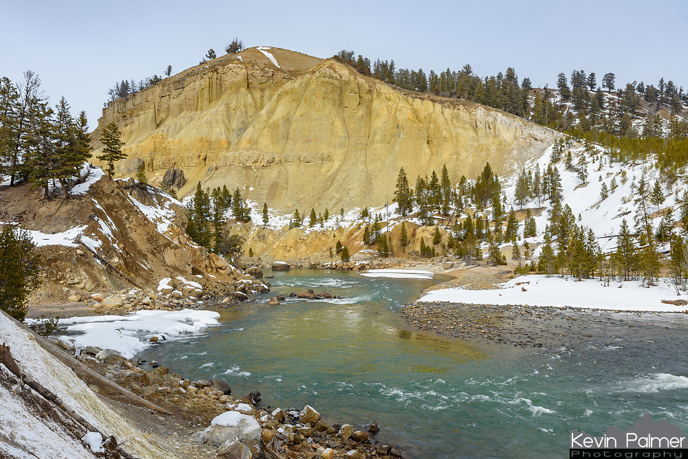 From Tower Fall there is a short but steep trail down to the edge of the Yellowstone River. It was a little slippery with the snow but it wasn't too bad.