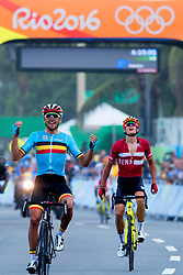 Greg van Avermaet of Belgium celebrates winning the gold medal in the Men's Road Race on Day 1 of the Rio 2016 Olympic Games at the Fort Copacabana on August 6, 2016 in Rio de Janeiro, Brazil. Photo by Robin Utrecht/ABACAPRESS.COM