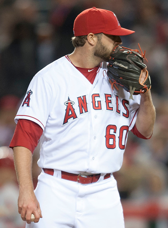 Angels' reliever A.J. Achter gave up two home runs in three innings of work during the Angels' 8-1 loss to the St Louis Cardinals Tuesday at Angel Stadium.<br /> <br /> ///ADDITIONAL INFO:   <br /> <br /> angels.0511.kjs  ---  Photo by KEVIN SULLIVAN / Orange County Register  --  5/10/16<br /> <br /> The Los Angeles Angels take on the St. Louis Cardinals at Angel Stadium Tuesday.<br /> <br />  5/10/16