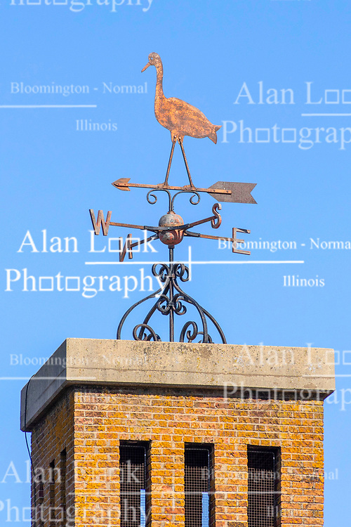 Goose themed weathervane on government building in central Illinois sits atop modernistic square brick and concrete cupola